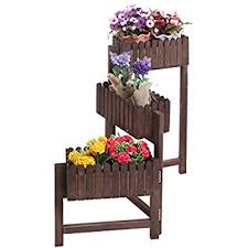 amazon com fir wood wagon wheel double tier planter plant stand