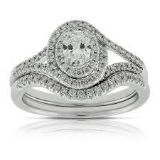 wedding set rings oval diamond wedding set 14k ben bridge jeweler