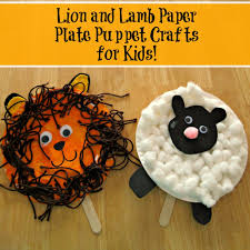 lion and lamb paper plate puppet crafts for kids