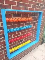 wooden frame washing line and airflow balls in different colours