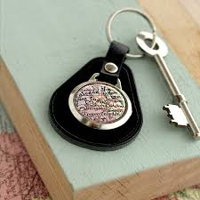 Leather Map Personalised Vintage Leather Map Keyring By Posh Totty Designs