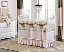 Baby Nursery Curtains by Baby Nursery With Small Chandelier Over Metal Baby Crib And Using