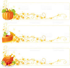 food autumn thanksgiving banners set pumpkin pumpkinpie roast