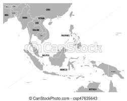 asia map with labels south east asia political map grey land on white background