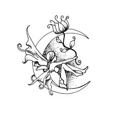 Fairy And Flower Tattoo Designs Dotwork Fairy On Half Moon With Flower Tattoo Design