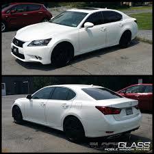 white lexus tinted windows black glass mobile window tinting automotive