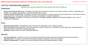 human resources assistant knowledge u0026 skills