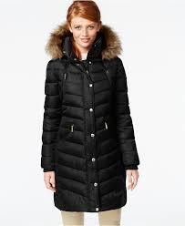 michael michael kors hooded faux fur trim down puffer coat coats