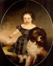 child in checkered dress with hat and dog by american prior