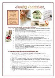 english teaching worksheets banking