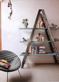 furniture wooden shelving ladder unfinished ladder shelf blue