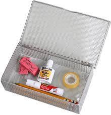 Desk Organizer Box Silver Hinged Mesh Pencil Markers Pens Storage Box