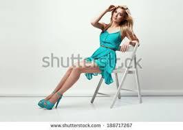 High Sitting Chair Beautiful Blonde Woman Wearing Blue Dress Stock Photo 187886795
