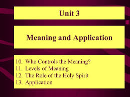 meaning and application 10 who controls the meaning 11 levels of