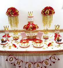 red and gold baby shower candy buffet table centerpiece boys