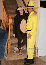 mens halloween costumes ideas homemade curious george and the man with the yellow hat couple
