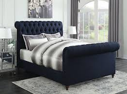 Navy Blue Bedroom Furniture by Navy Blue Button Tufted Woven Queen Scroll Sleigh Bed Bedroom