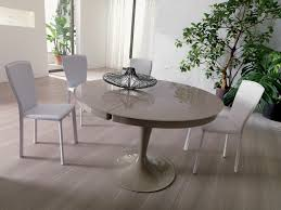 modern round light grey lacquered extendable dining table design