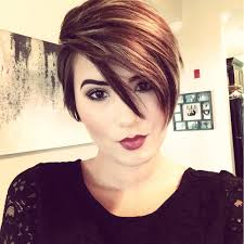 best highlights for pixie dark brown hair my new long pixie cut assymetrical part brown hair with blonde