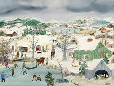 will moses christmas cards two black horses on a winters day folk painting houses and