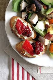 thanksgiving cranberry turkey cobb salad with cranberry sauce and brie crostini two of