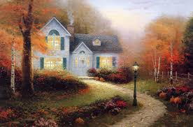 kinkade pattern painting autumn light cottage light