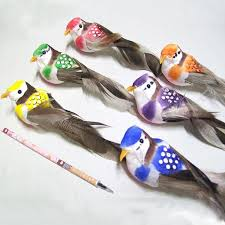 12pcs 14 3 5cm foam feather artificial small colorful birds with