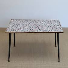 mid 20th c tile topped coffee table funky pink u0026 black retro