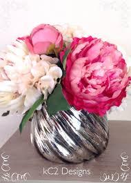 Home Decor Silk Flower Arrangements Faux Silk Flower Arrangement Glass Vase Faux Water Blush Peony