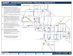 City Of Phoenix Map by Adot Weekend Freeway Traffic Advisory Jan 6 9 3tv Cbs 5