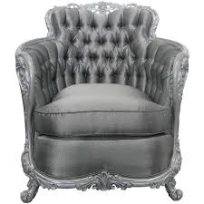 carved rococo style silver tufted chair for sale at 1stdibs