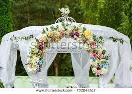 wedding ceremony decorations white stock photo 702048517