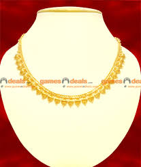 gold plated beaded kerala necklace unique wear choker design