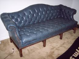 vintage ethan allen blue leather office couch collectors weekly