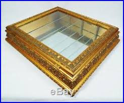 Ornate Display Cabinets Gold Gilded Wood Frame Mirrored Curio Display Cabinet With Glass