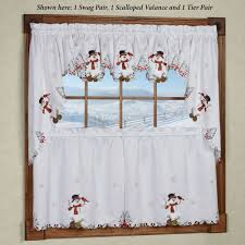 Snowman Curtains Kitchen Christmas Holiday Window Treatments Curtains Valances Touch Of Class