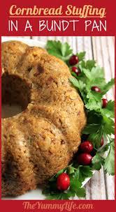 thanksgiving stuffing dressing cornbread stuffing in a bundt pan
