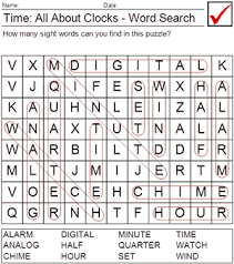printable clock vocabulary words word search answer sheet