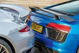 vs porsche 911 turbo audi r8 vs porsche 911 turbo s auto express