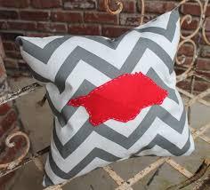 go hogs chevron pillow cover with red arkansas razorback outline