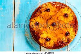 sweet homemade pineapple upside down cake with cherries stock