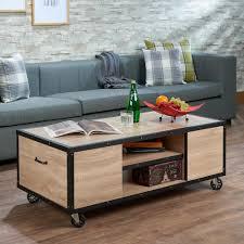 Weathered Wood Coffee Table Acme Furniture Bemis Weathered Light Oak Mobile Storage Coffee