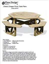 picnic table bench plans classic large octagon picnic table bench woodworking project plans