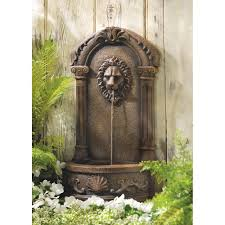 garden fountains outdoor faux stone lion head wall fountain for