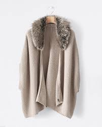 sweater with faux fur collar poetry faux fur collar cape