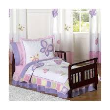 Purple Toddler Bedding Set Wooden Sleigh Toddler Bed With Butterfly Purple White Bedding Set