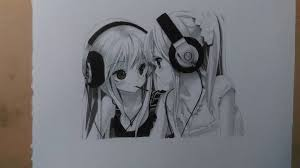 drawing of two anime girls by shaunmckenzie on deviantart