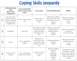 coping skills jeopardy from rectherapyideas reference