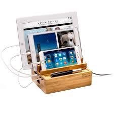 Smartphone Charging Station Bamboo Tablet And Smartphone Charging Station 3 Rack