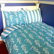 dorm twin xl beach bedding set coastal blue turquoise seahorse and